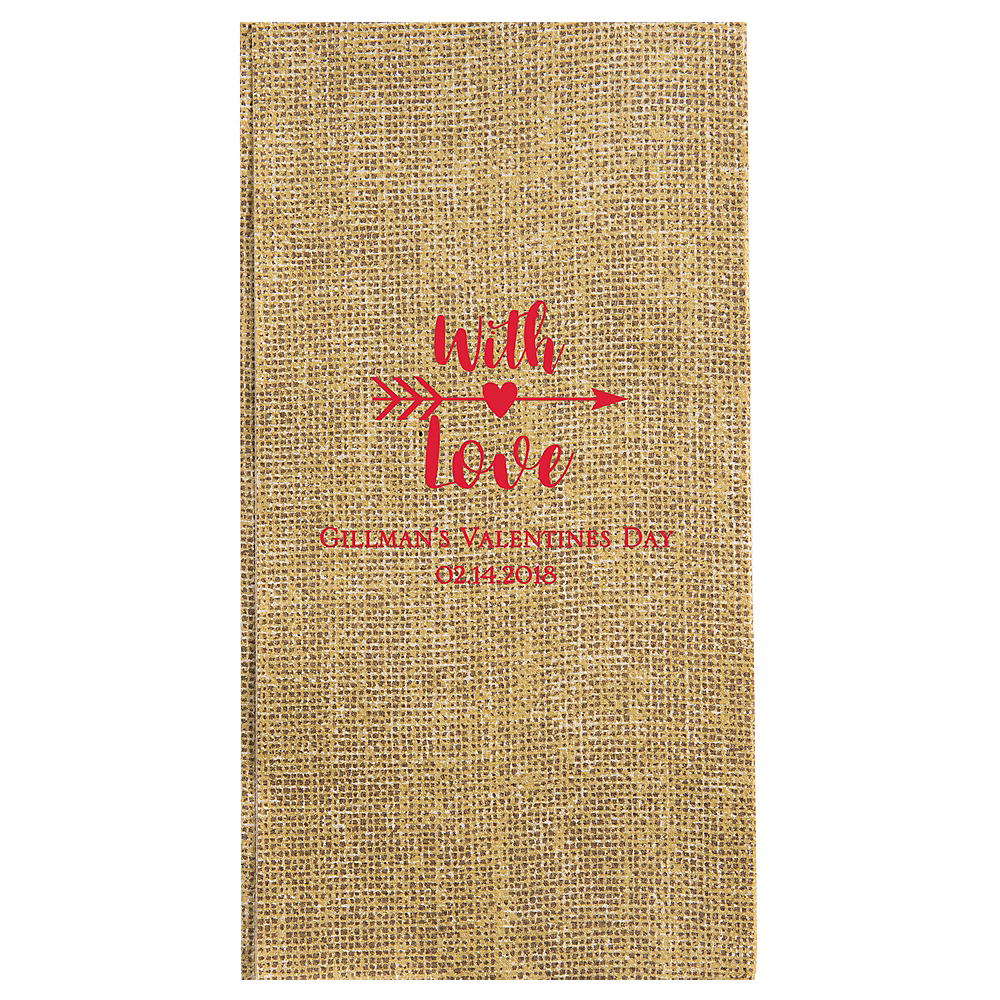 Personalized Valentine's Day Burlap Print Guest Towels Image #1