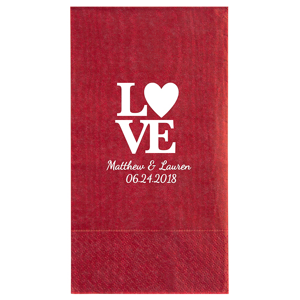 Personalized Valentine's Day Moire Guest Towels Image #1