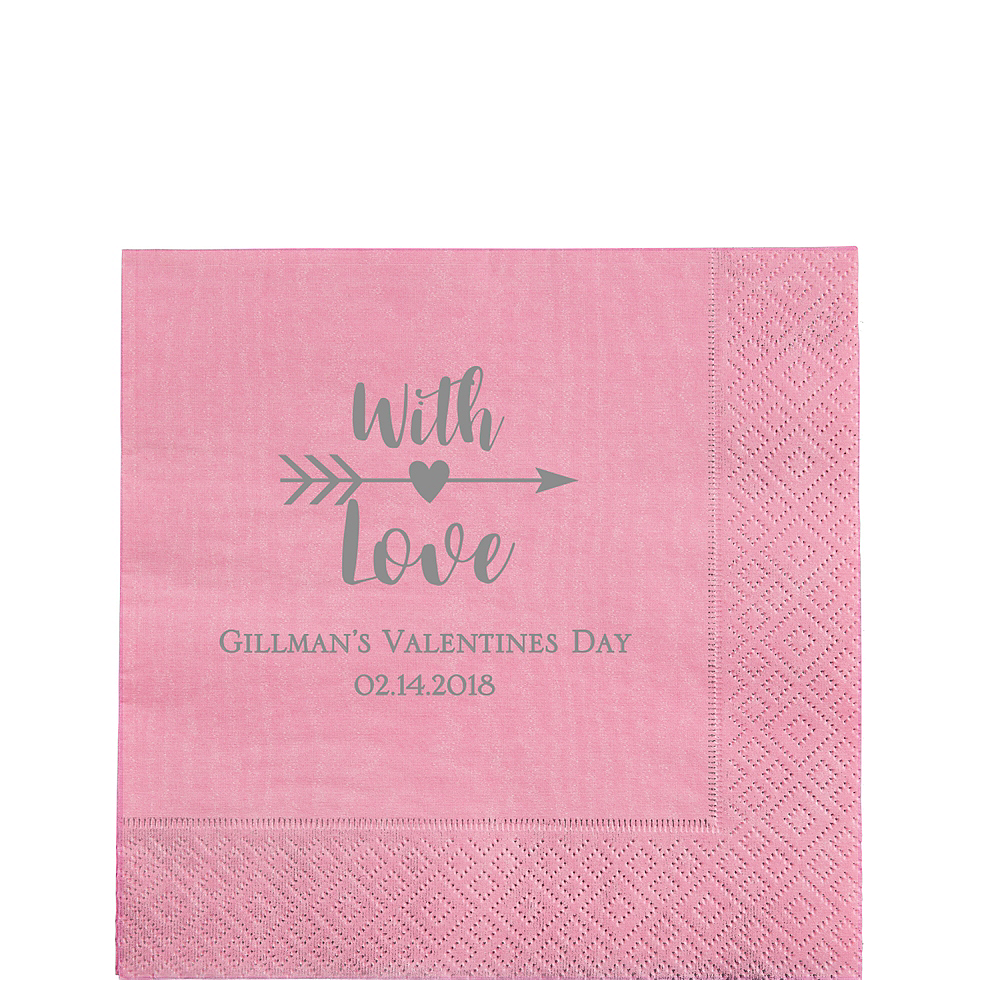Personalized Valentine's Day Moire Lunch Napkins Image #1