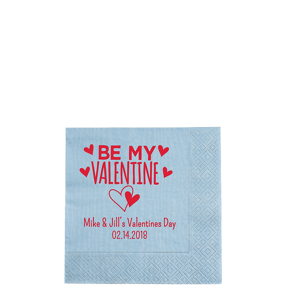 Personalized Valentine's Day Moire Beverage Napkins Image #1