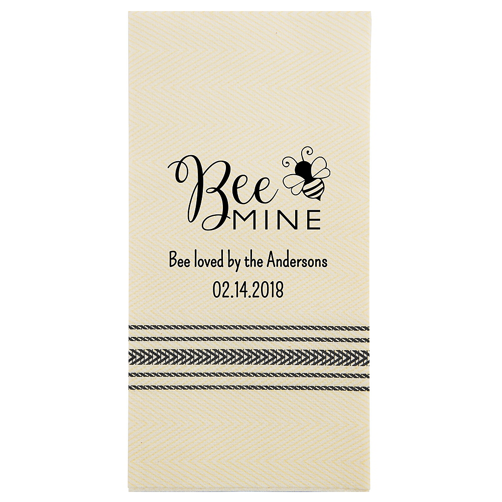 Personalized Valentine's Day Herringbone Guest Towels Image #1