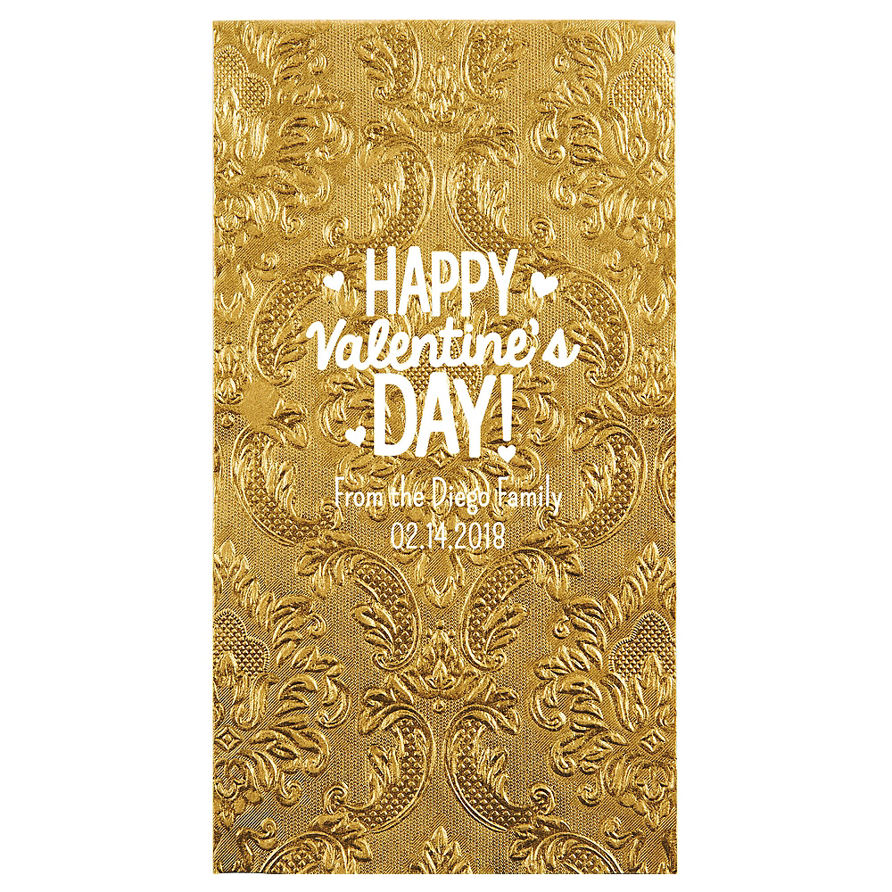 Personalized Valentine's Day Embossed Damask Guest Towels Image #1