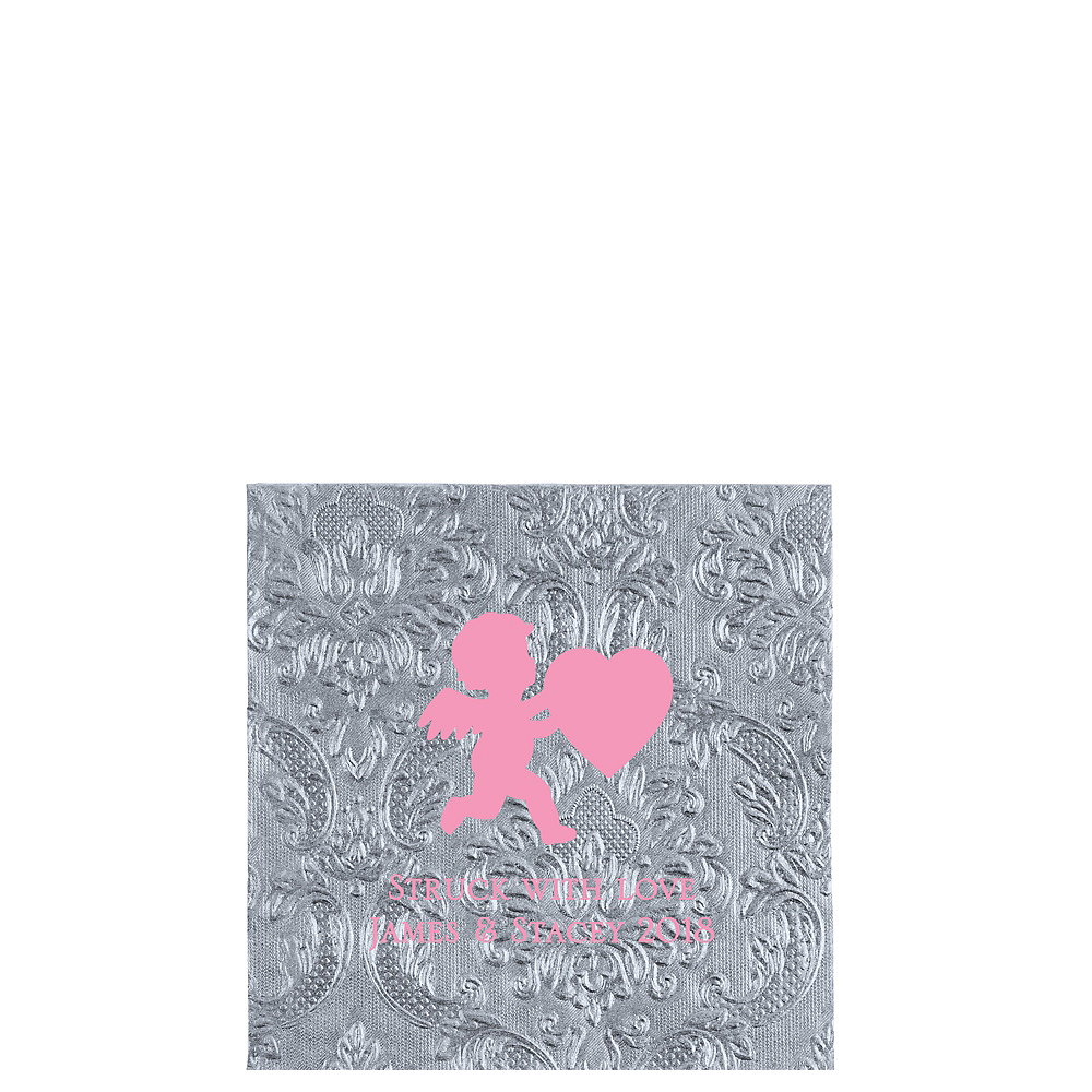 Personalized Valentine's Day Embossed Damask Beverage Napkins Image #1