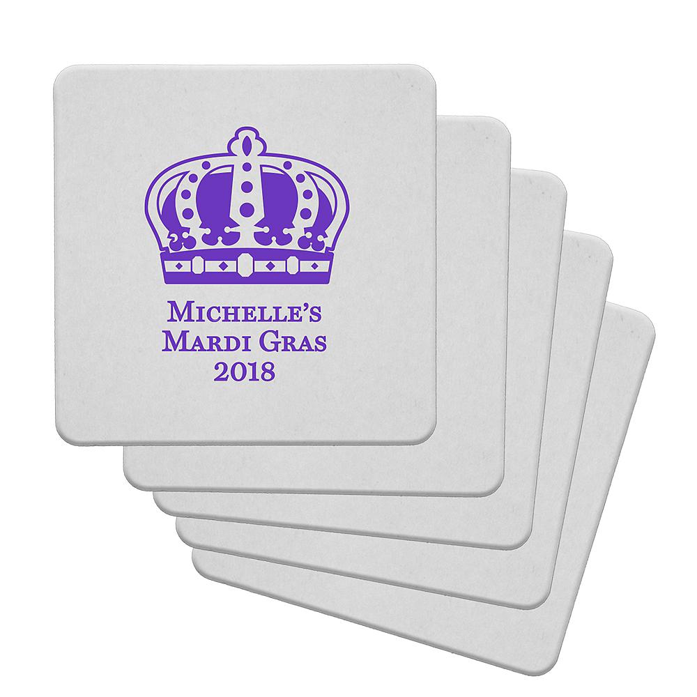 Personalized Mardi Gras 40pt Square Coasters Image #1