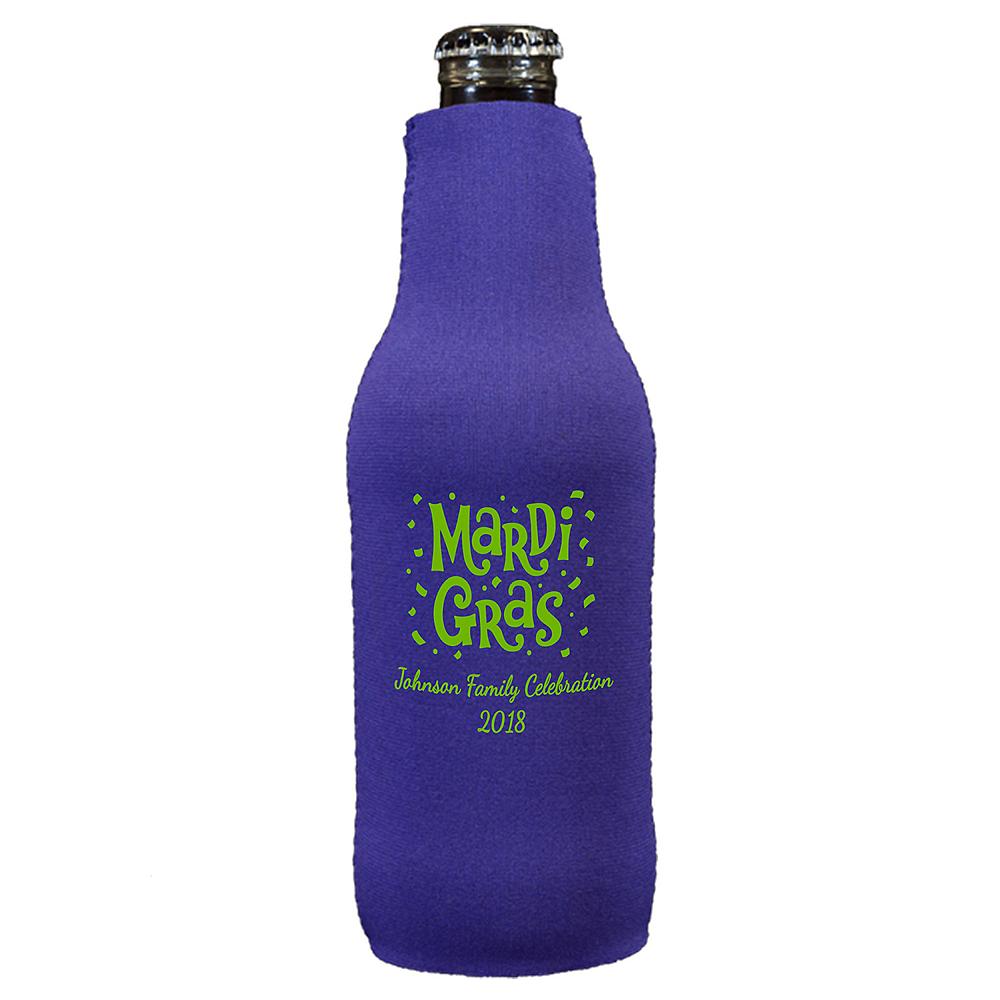 Personalized Mardi Gras Bottle Huggers Image #1