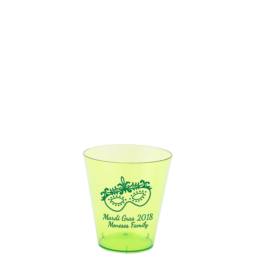 Personalized Mardi Gras Plastic Shot Glasses 2oz Image #1
