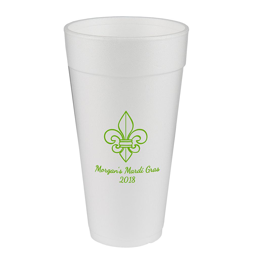 Personalized Mardi Gras Foam Cups 24oz Image #1