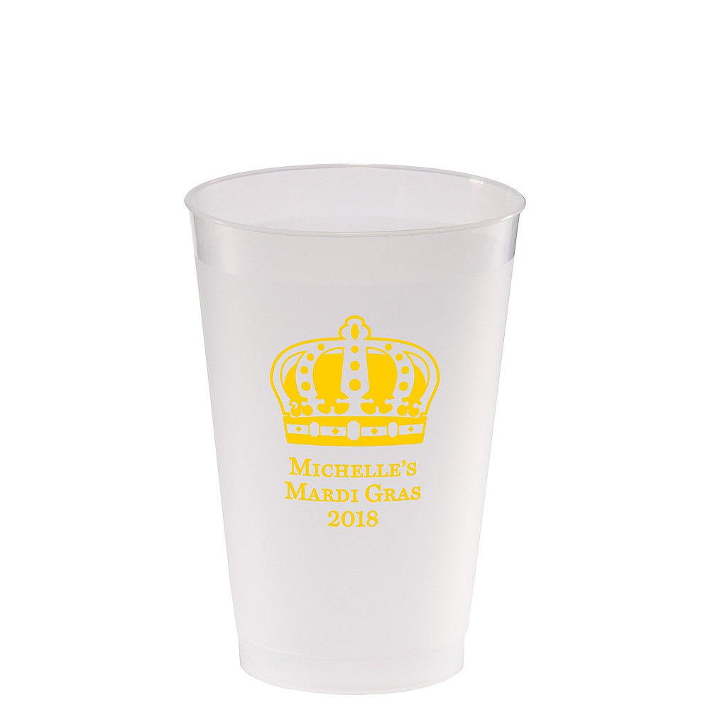 Personalized Mardi Gras Frosted Plastic Shatterproof Cups 14oz Image #1