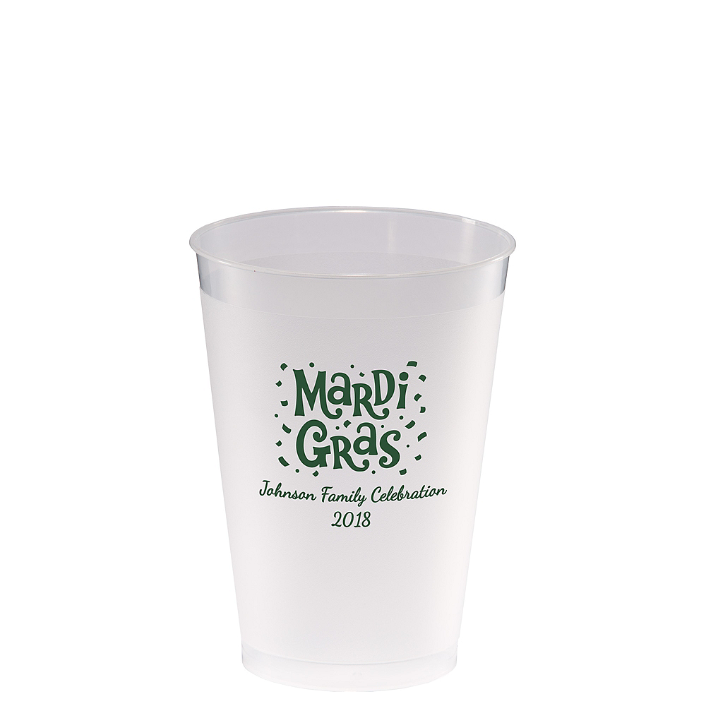 Personalized Mardi Gras Frosted Plastic Shatterproof Cups 12oz Image #1