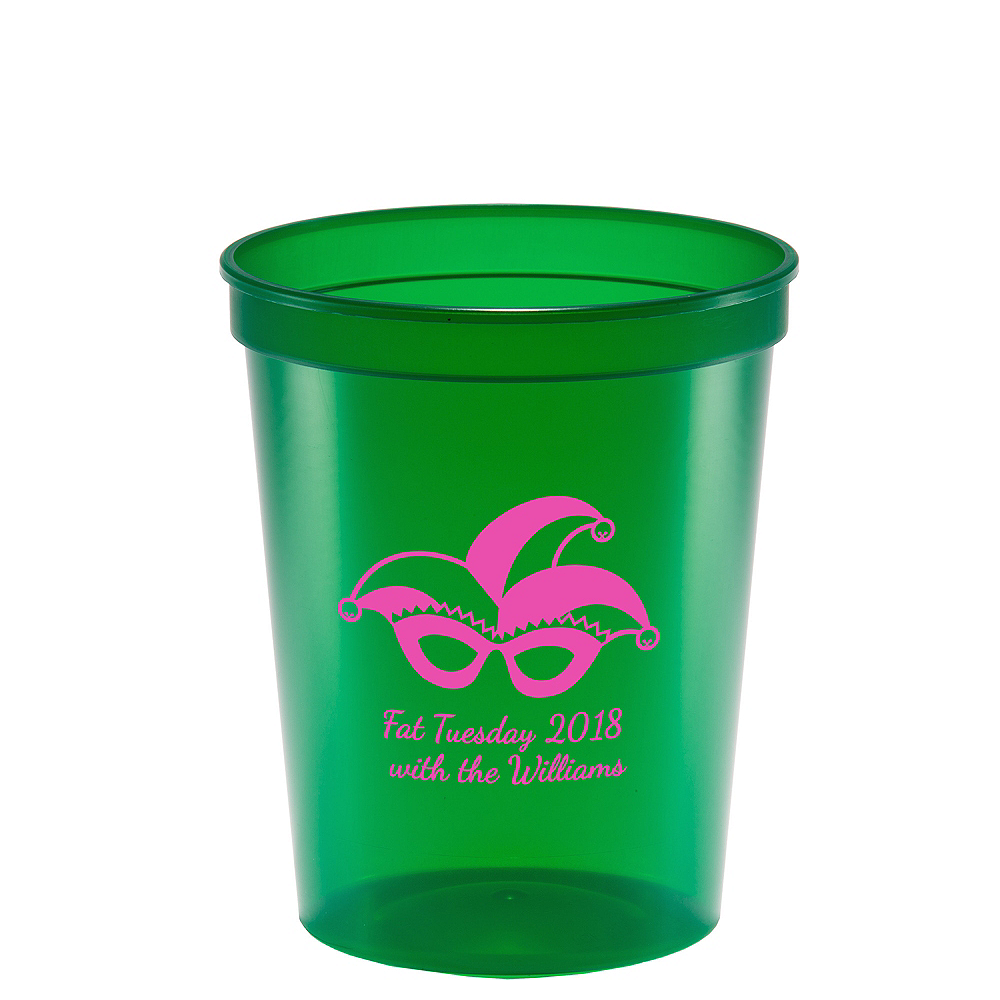 Nav Item for Personalized Mardi Gras Translucent Plastic Stadium Cups 16oz Image #1
