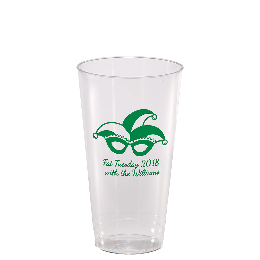 Personalized Mardi Gras Hard Plastic Cups 14oz Image #1