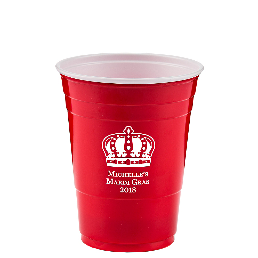 Personalized Mardi Gras Solid-Color Plastic Party Cups 16oz Image #1
