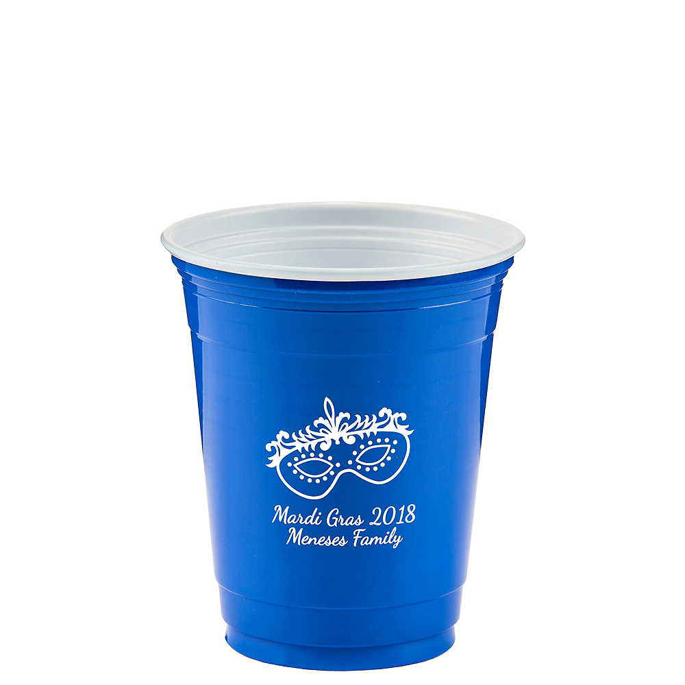 Personalized Mardi Gras Solid-Color Plastic Party Cups 12oz Image #1