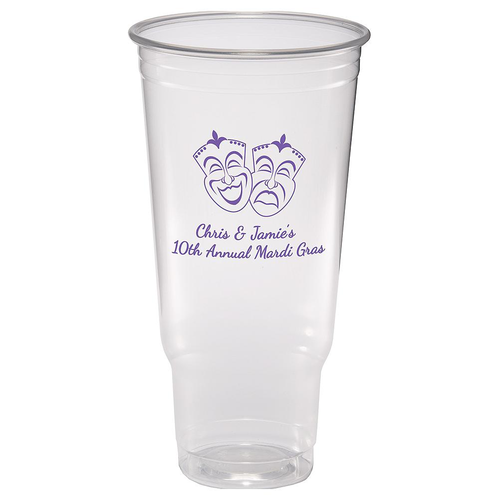Personalized Mardi Gras Plastic Party Cups 44oz Image #1
