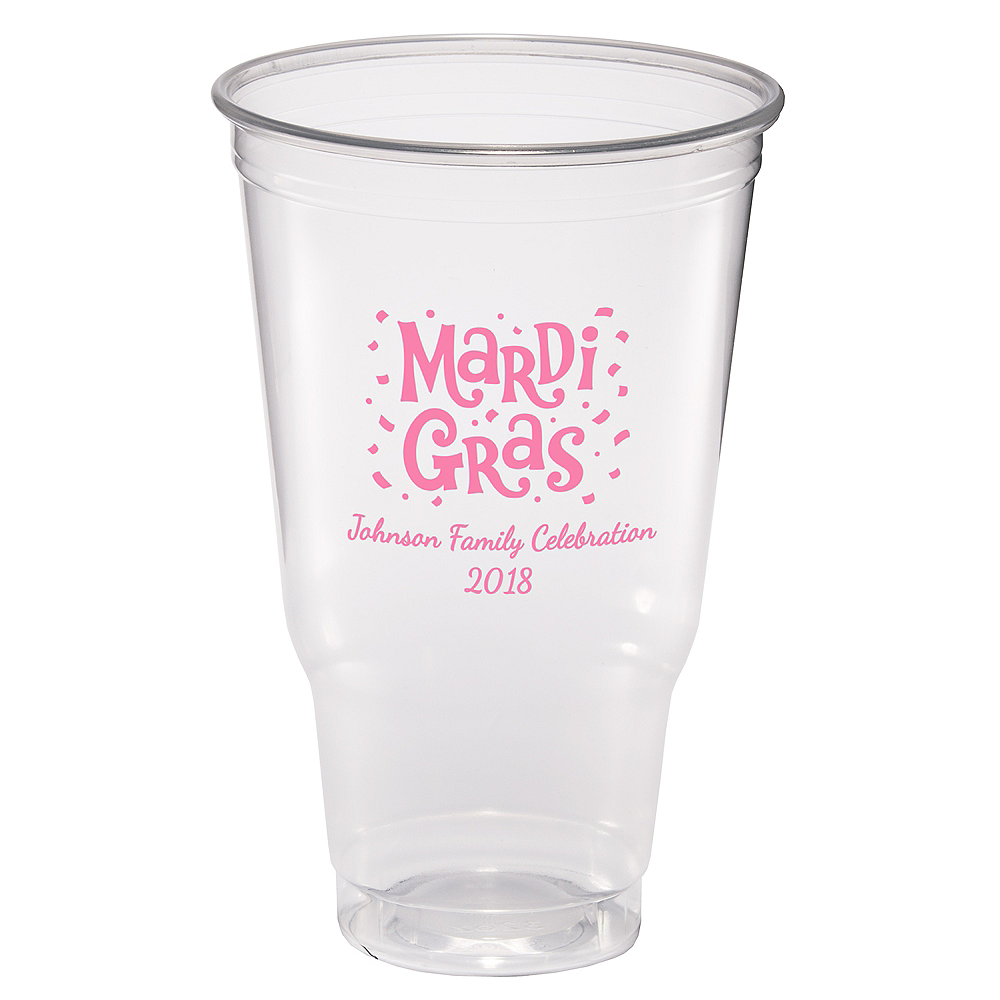 Personalized Mardi Gras Plastic Party Cups 32oz Image #1