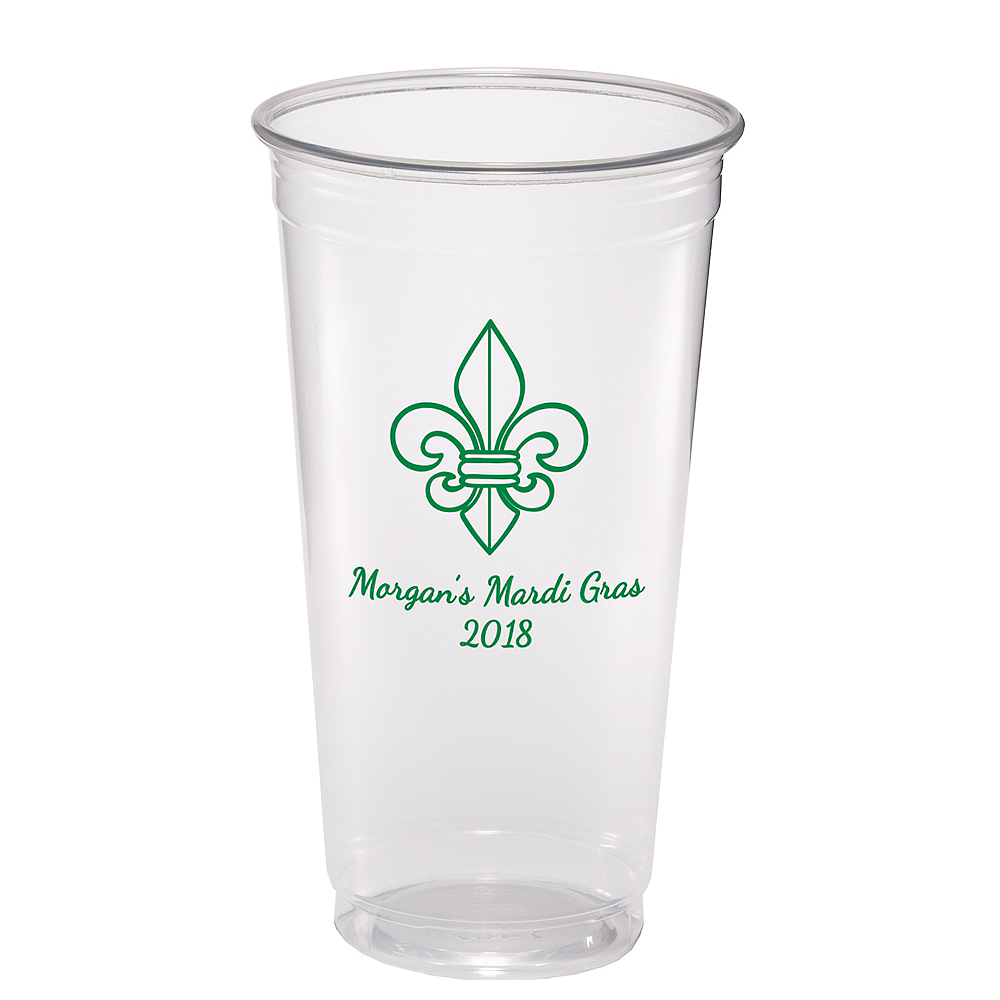 Personalized Mardi Gras Plastic Party Cups 24oz Image #1