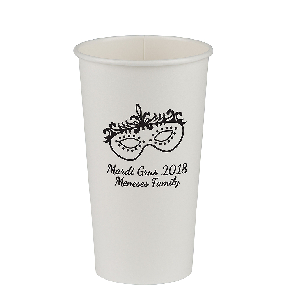 Personalized Mardi Gras Paper Cups 20oz Image #1