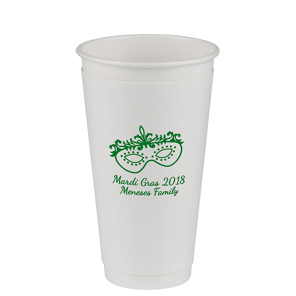 Personalized Mardi Gras Insulated Paper Cups 20oz Image #1