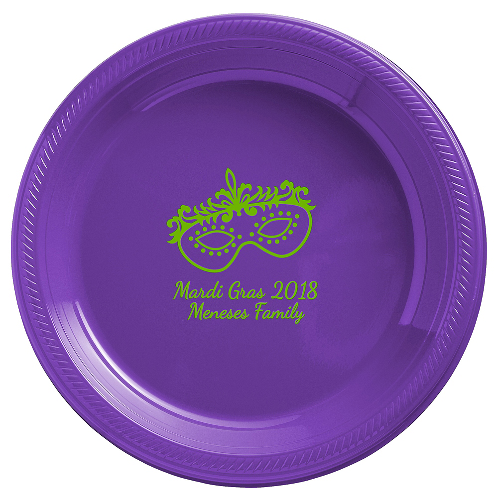Nav Item for Personalized Mardi Gras Plastic Dinner Plates Image #1