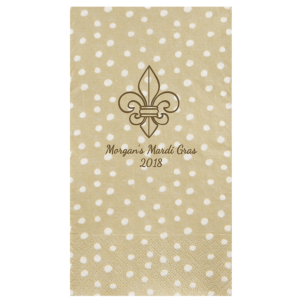 Personalized Mardi Gras Small Dots Guest Towels Image #1