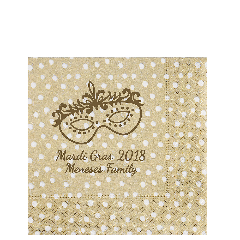 Personalized Mardi Gras Small Dots Lunch Napkins Image #1