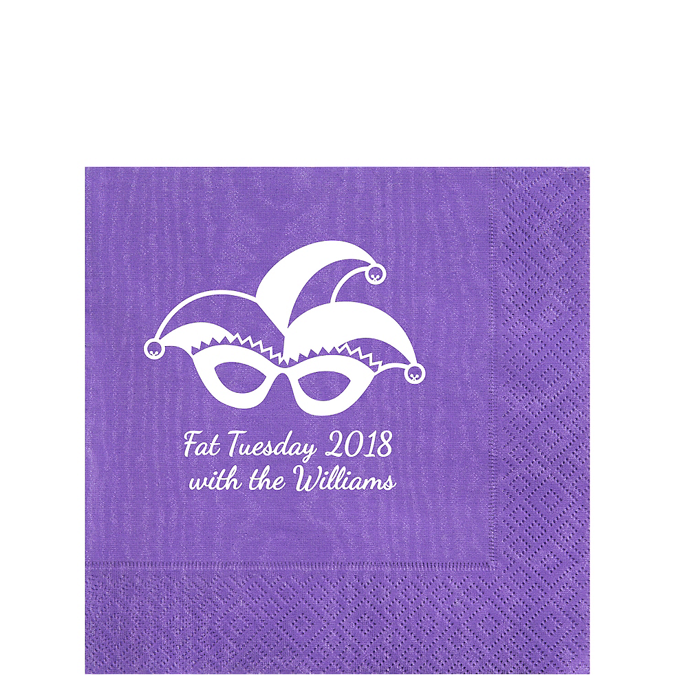 Personalized Mardi Gras Moire Lunch Napkins Image #1
