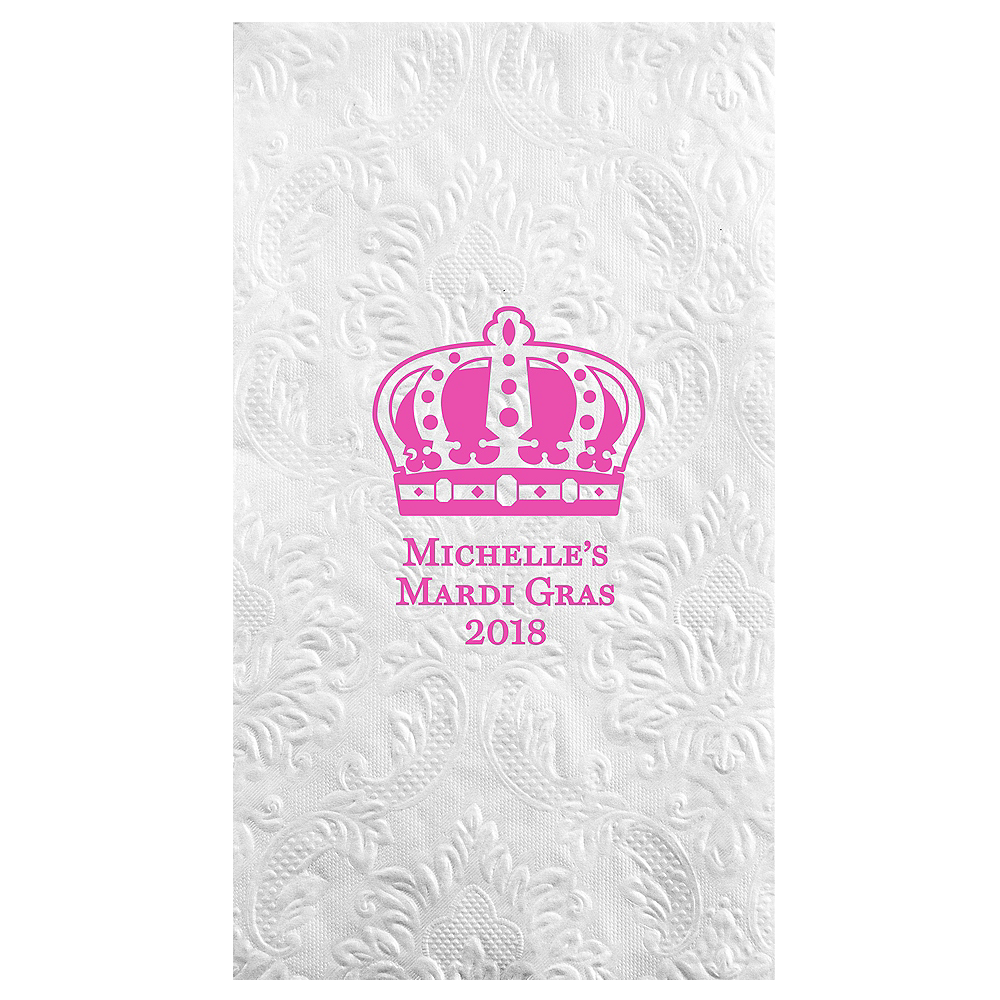 Personalized Mardi Gras Embossed Damask Guest Towels Image #1