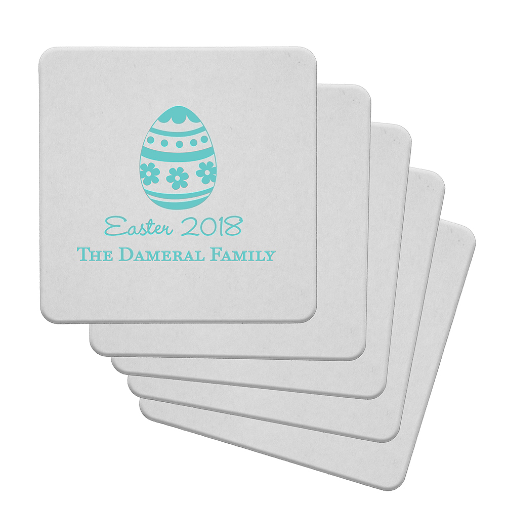 Personalized Easter 40pt Square Coasters Image #1