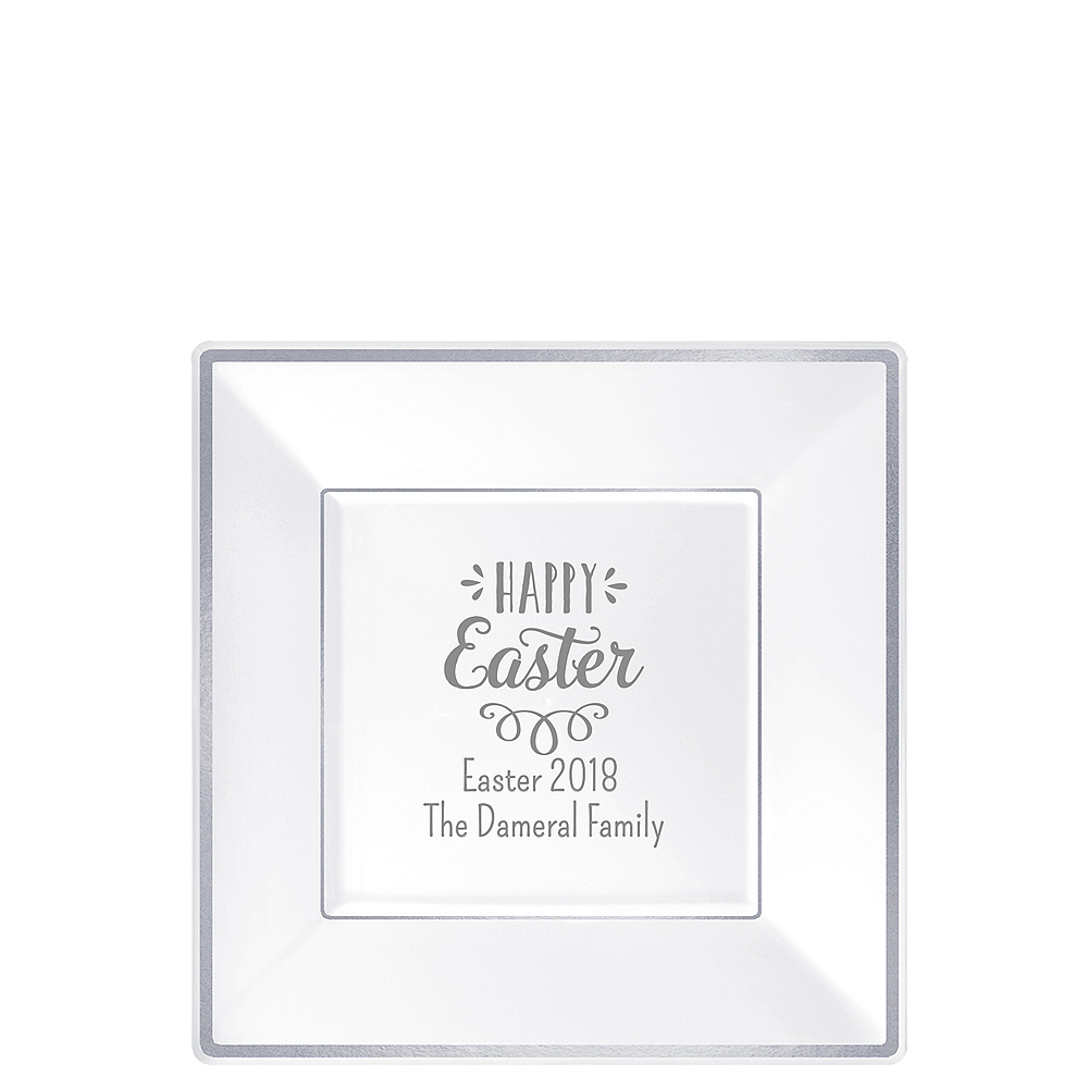 Personalized Easter Premium Square Trimmed Dessert Plates Image #1
