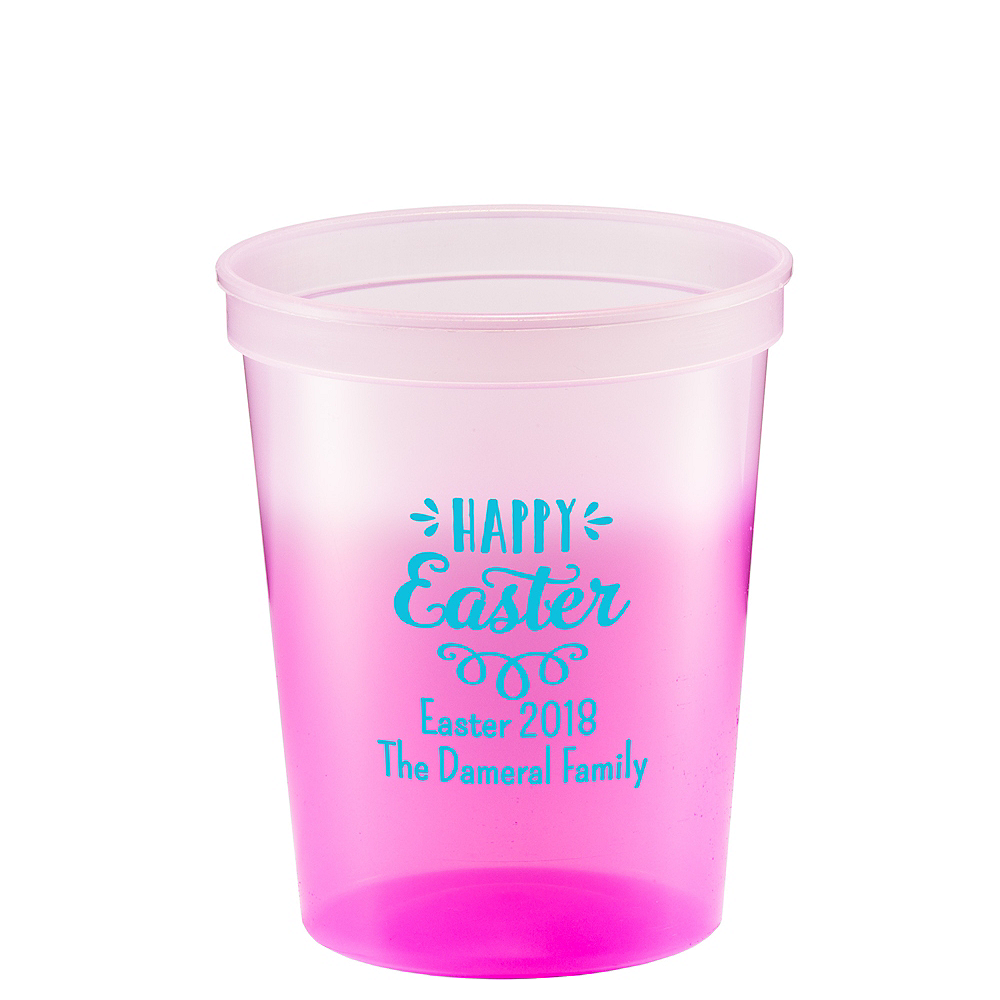 Personalized Easter Color-Changing Plastic Stadium Cups 16oz Image #1