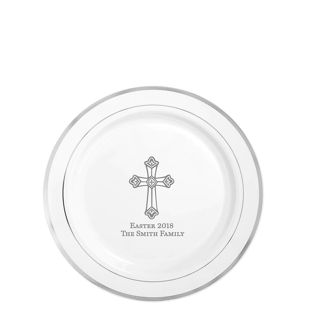 Personalized Easter Premium Round Trimmed Dessert Plates Image #1