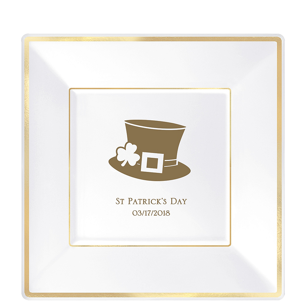 Personalized St. Patrick's Day Premium Square Trimmed Dinner Plates Image #1