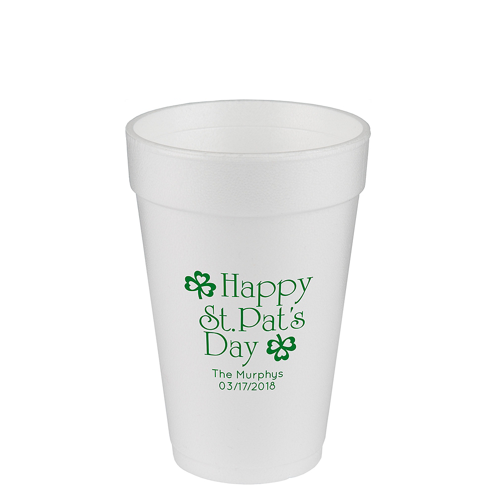 Personalized St. Patrick's Day Foam Cups 16oz Image #1