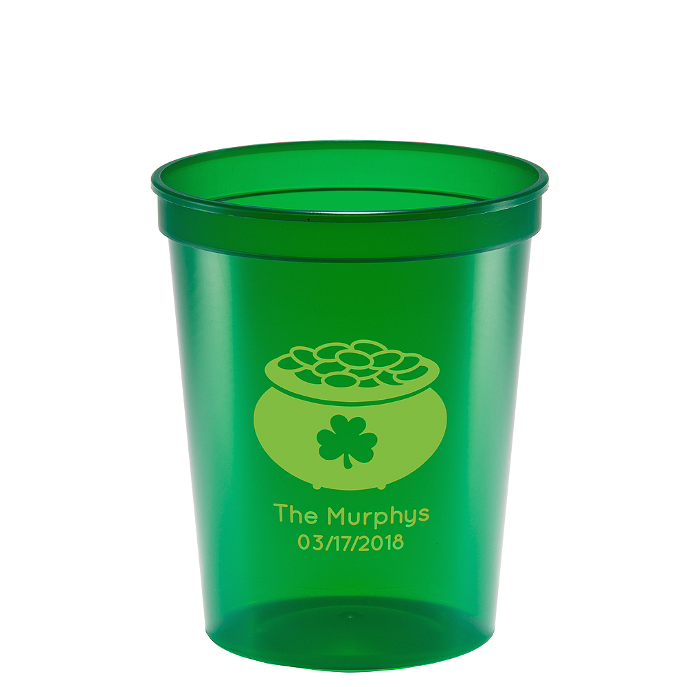 Personalized St. Patrick's Day Translucent Plastic Stadium Cups 16oz Image #1