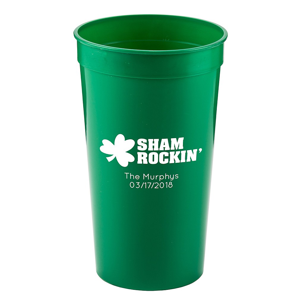 Personalized St. Patrick's Day Plastic Stadium Cups 32oz Image #1