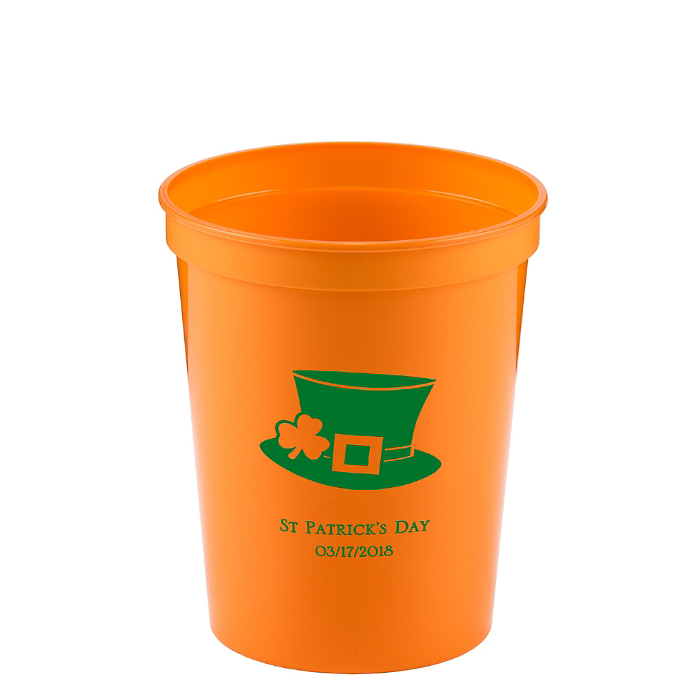 Personalized St. Patrick's Day Plastic Stadium Cups 16oz Image #1