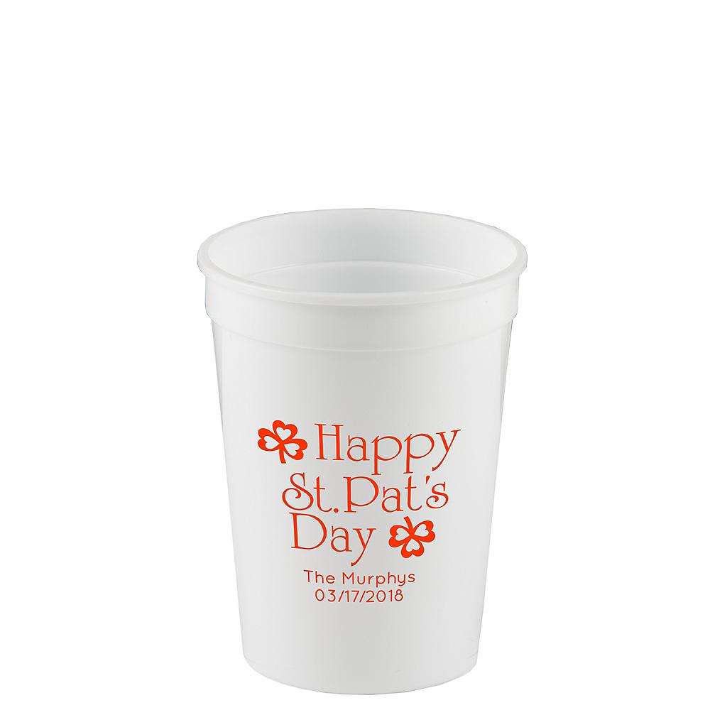 Personalized St. Patrick's Day Plastic Stadium Cups 12oz Image #1
