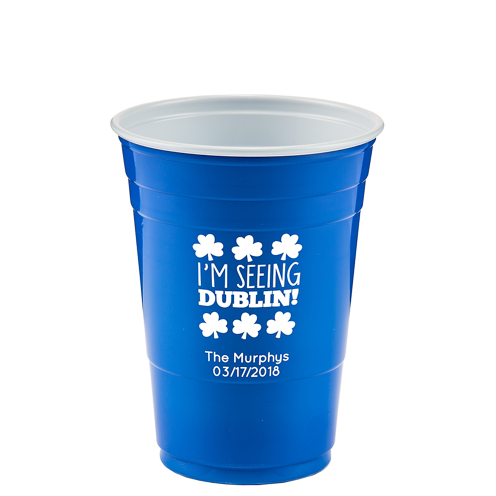 Personalized St. Patrick's Day Solid-Color Plastic Party Cups 16oz Image #1