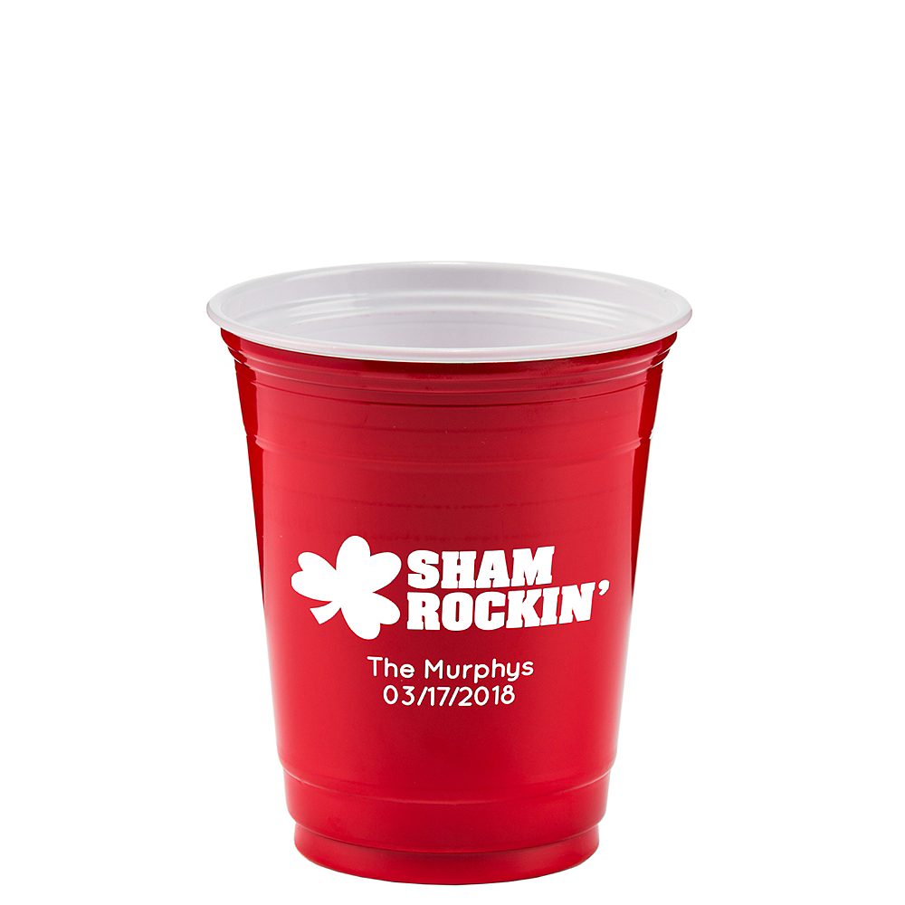 Personalized St. Patrick's Day Solid-Color Plastic Party Cups 12oz Image #1