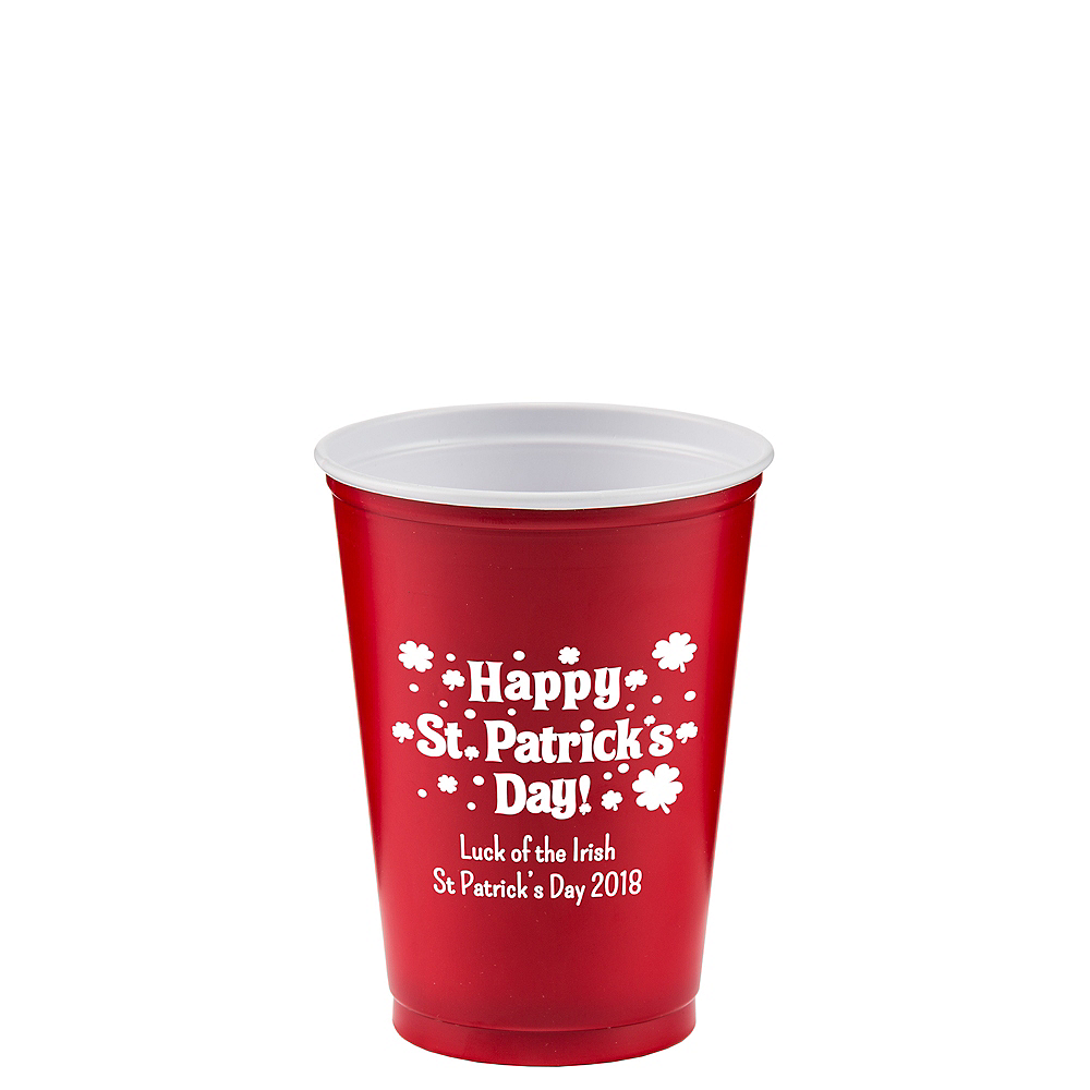 Personalized St. Patrick's Day Solid-Color Plastic Party Cups 10oz Image #1