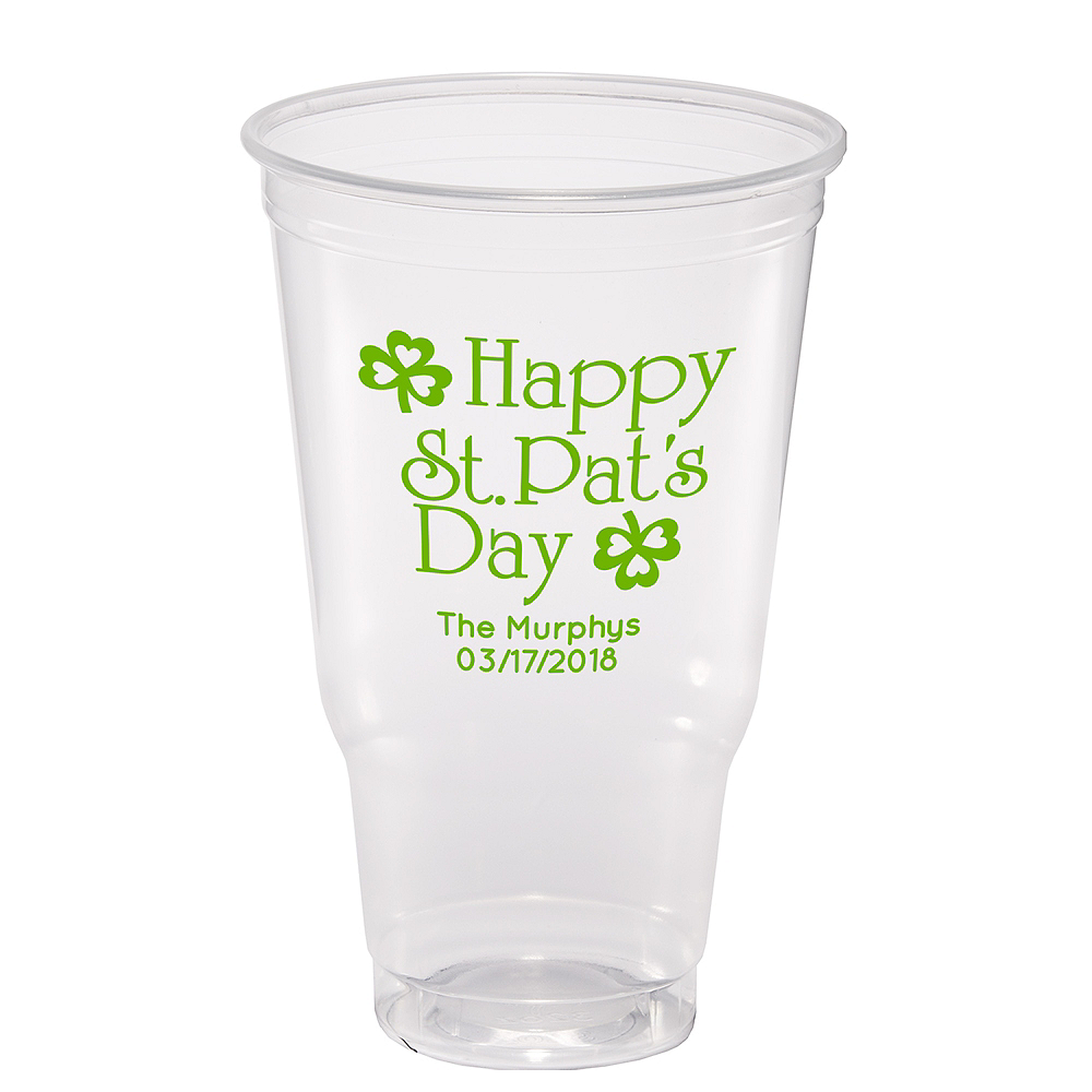 Personalized St. Patrick's Day Plastic Party Cups 32oz Image #1