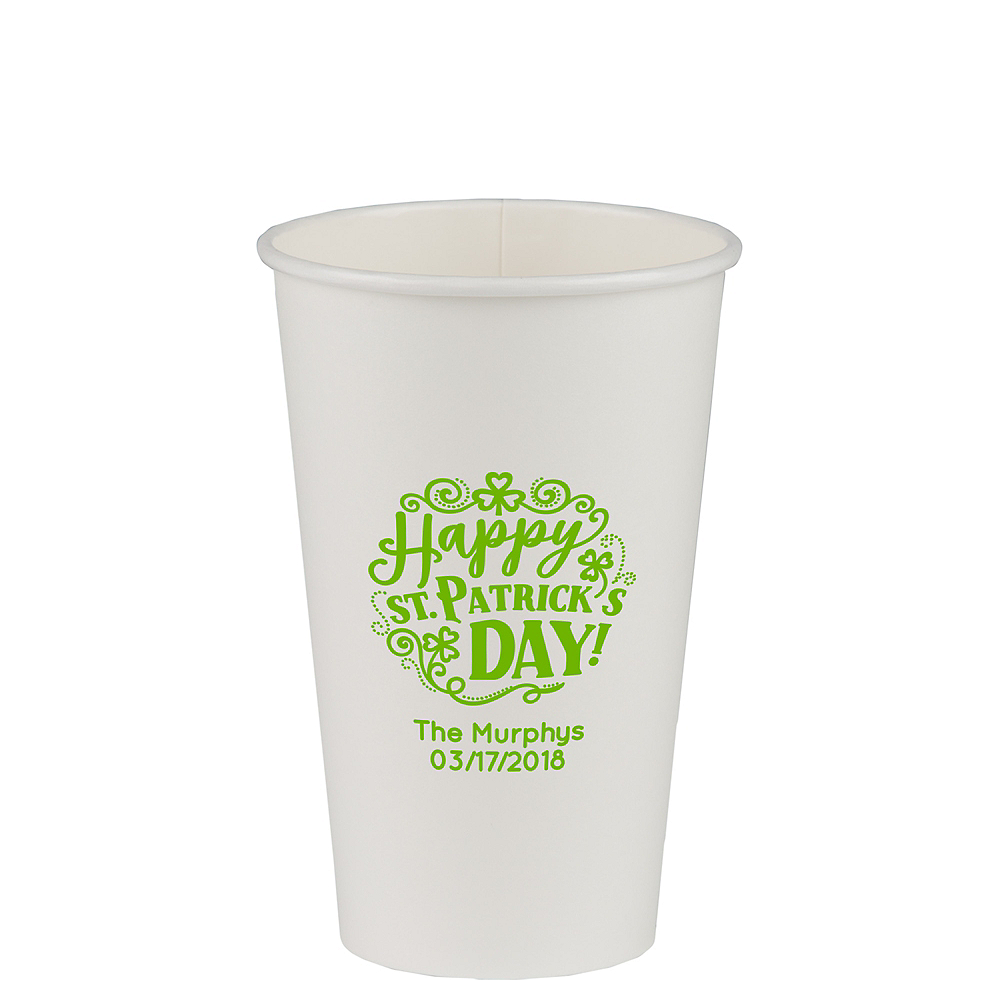 Personalized St. Patrick's Day Paper Cups 16oz Image #1