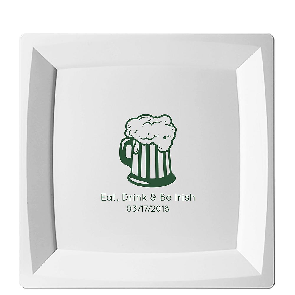 Personalized St. Patrick's Day Premium Plastic Square Dinner Plates Image #1