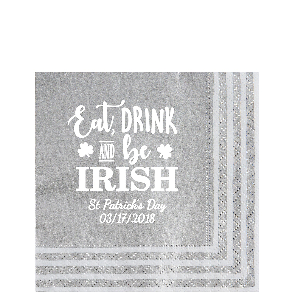 Personalized St. Patrick's Day Stripe Border Lunch Napkins Image #1