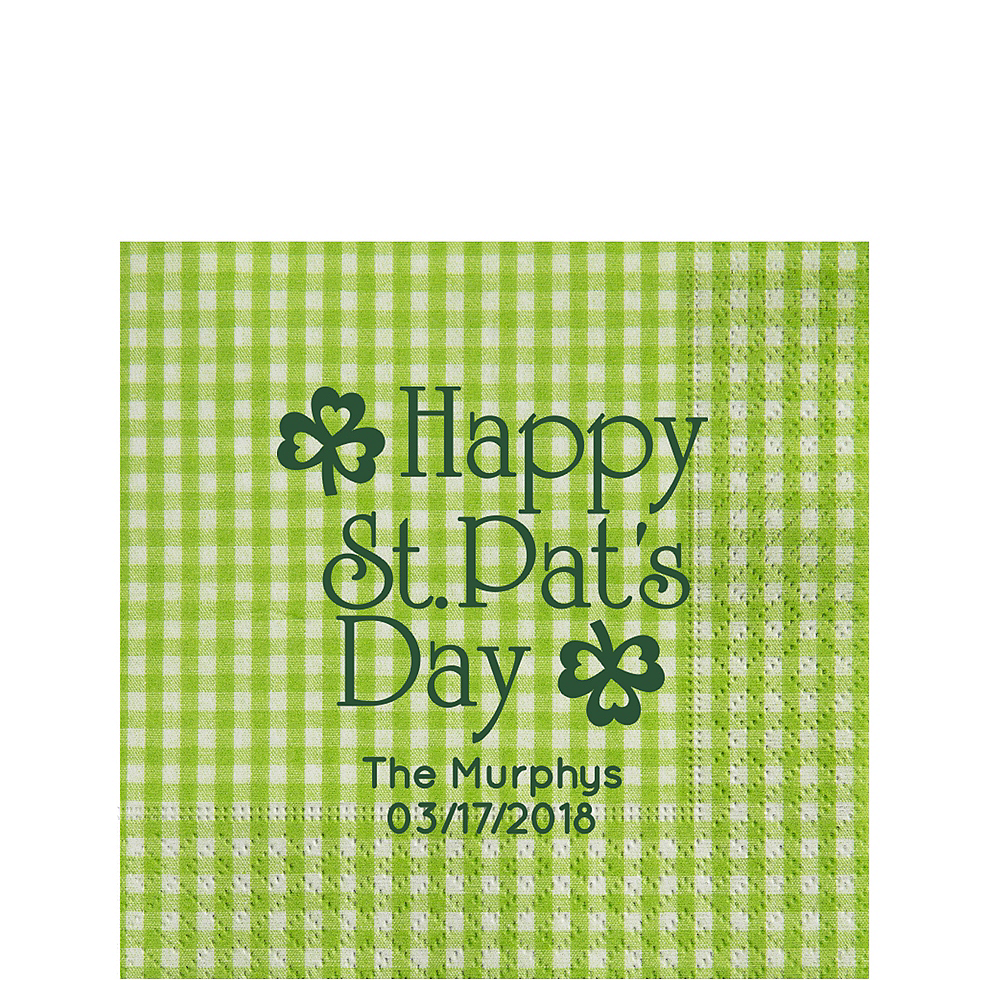 Personalized St. Patrick's Day Gingham Lunch Napkins Image #1