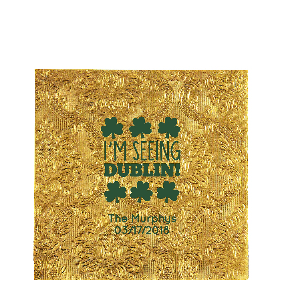 Personalized St. Patrick's Day Embossed Damask Lunch Napkins Image #1