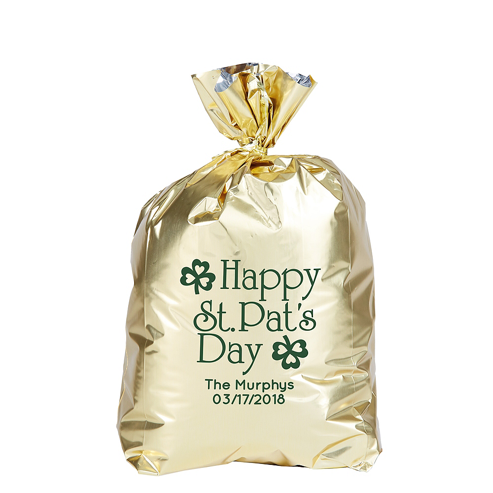 Personalized Small St. Patrick's Day Plastic Treat Bags Image #1