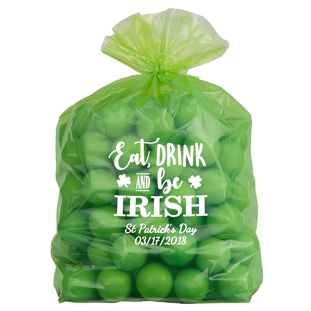 Personalized Medium St. Patrick's Day Plastic Treat Bags Image #1