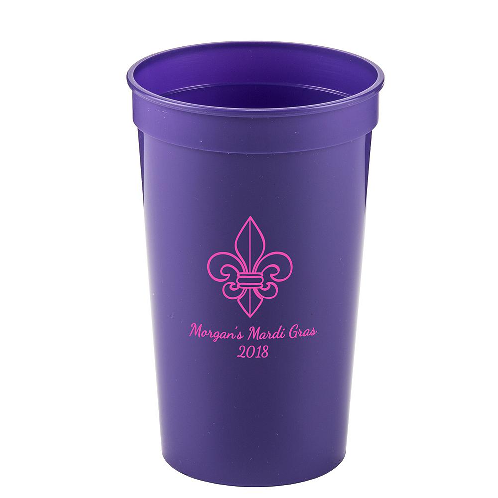 Personalized Mardi Gras Plastic Stadium Cups 22oz Image #1
