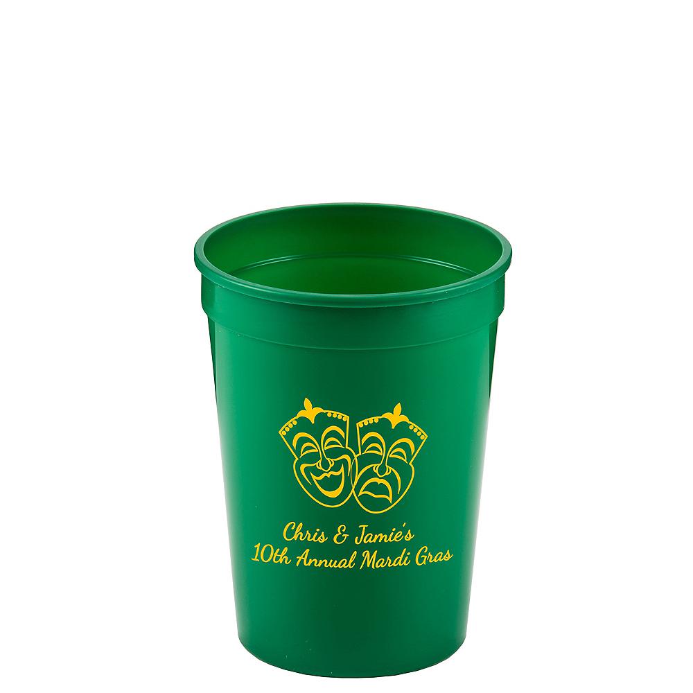 Personalized Mardi Gras Plastic Stadium Cups 12oz Image #1